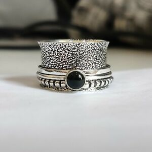 Black Onyx Spinner Ring 925 Sterling Silver Plated Handmade Ring Size 7.5  P542