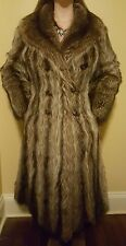 70s Vintage Gainsborough Full Length Flared Raccoon Fur Coat Jacket + Scarf S