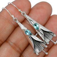 Lily Flower - Blue Topaz 925 Sterling Silver Earrings Jewelry AE162679