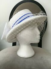 VINTAGE LADIES C&A WHITE WITH NETTING HAT WITH BLUE RIBBON & BIG WHITE BOW