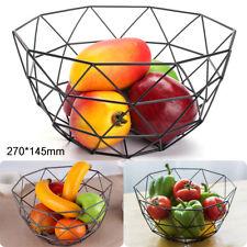 Metal Geometric Wire Decorative Storage Display Fruit Basket Bowl in Black
