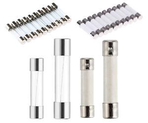 10x Feinsicherungen Glassicherung Keramiksicherung Flink Träge 5x20mm / 6x30mm
