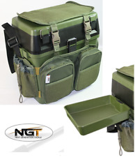 NGT Green Carp Sea Fishing Seat Box with Harness Rucksack Converter + Side Tray