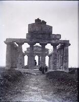 ITALIE Salerne Paestum Temple Cérès c1900, NEGATIF Photo Stereo Plaque Verre VR8