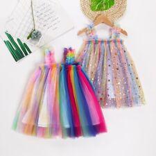 Girl Tutu Skirt Mesh Rainbow Glitter Dress Kids Sleeveless Fairy Party Show Cute