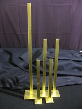 "High End Vintage Set of 5 Gold Leaf Metal Bar Vases  24 1/2"" to 12 1/2"""