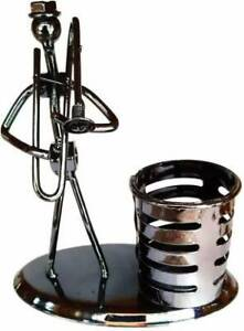 Craftfry Musical Men Pen Stand Like use Desk Organizer 1 Compartment ( Silver )