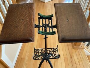 19th C Antique Victorian Cast Iron, Oak Adj. Dictionary Stand ~ All Original
