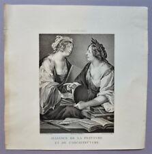 Gravure XIXème - Alliance de la peinture et de l'architecture - F. Rustici