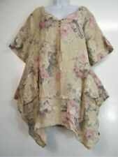 Maglie e camicie da donna a manica corta beige in lino