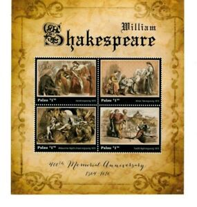 Palau-2016 - William Shakespeare 400th Memorial Anniversary -Sheet of Four-MNH