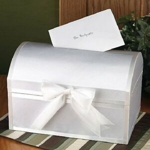 White Satin Treasure Chest Style Wedding Gift Card Box NEW!