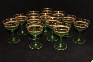 Rare Vintage Gold Rimmed Crystal, Green, 12 Sherbet Champagne Glasses, c1930's