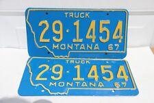 Montana License Plates 1967 pair NOS Truck NOS 29-1454