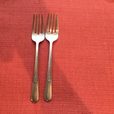 """2 Vintage Silver Plate Salad Forks Holmes And Edwards Inlaid IS 1940 """"Youth"""""""