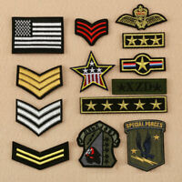 13pc Military Army Soldier Rank Insignia Embroidered Patches Sew Iron on Clothes