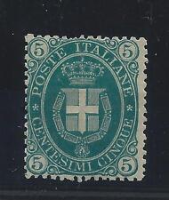 FRANCOBOLLI 1889 REGNO 5 CENTESIMI VERDE SCURO LINGUELLATO MLH FIRMATO Z/559