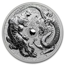 NEW~ 2018 ~ PERTH MINT ~1~OZ  SILVER ~ DRAGON & TIGER ~ REVERSE PROOF GEM ~$9.99