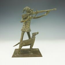 Antique Tribal African Patinated Brass - Huntsman With Dog Figure - Unusual!