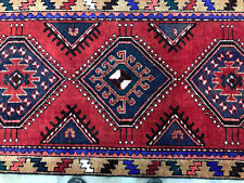 3x10 Red Vintage Runner Rug Antique Wool Hand Knotted geometric tribal blue mint
