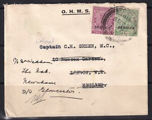 India Stamp 8/Dec/1931 O.H.M.S cover with 2.5 anna postage stamp to Uk then redi