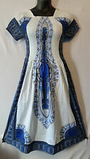 African Women's Dashiki Print Sun Dress Kaftan Hippie Maxi Gown Plus siz White 1