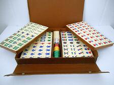 New in Case~Vtge~RARE Cream Color Bakelite Mah Jongg Tile Set w/Tan Case w/Snaps