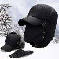 Men Aviator Bomber Warm Faux Fur Ear Flap Hat Cap Winter Ski Trooper Trapper Hat