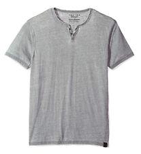 Lucky Brand Men's L - NWT$29 Gray Short Sleeve Venice Burnout Notch Henley Tee