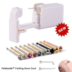 Disposable Nose Piercing Kit Foldasafe - Silver Gold CZ Stud Ring Gun Home Self