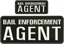 BAIL ENFORCEMENT AGENT EMB PATCH 4X10 AND 2X5 HOOK ON BACK BLK/WHITE