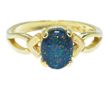 Idaho Opal Ring 14K Yellow Gold 8 by 6 mm Oval Gemstone Size 5.75