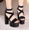 Black  High Heel FashionWomen Strappy Super Platform Wedge Sandals Shoes Fashion