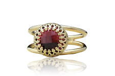 Anemone Jewelry January Birthstone Ring Red Garnet in 14k Gold Over Silver Band