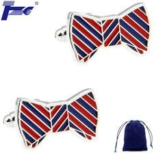 Bow Tie Enamel Cufflinks With Velvet Bag Fashion Cuff Links Men Blue & Red