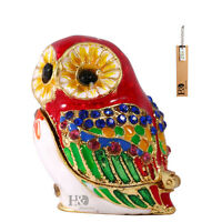 Handmade Red Crystal Metal Owl Trinket Boxes Figurines Jewelry Collectible Gifts