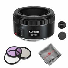 Canon EF 50mm f/1.8 STM Lens with 3pc 49mm UV Filter Kit + Cleaning Cloth