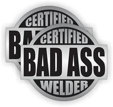2x Certified Bad Ass Welder Hard Hat Stickers | Welding Helmet Decals | Toolbox