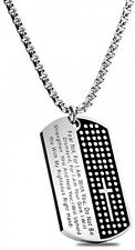 American Dog Tag W/ Isaiah 41:10 - Fear Not Pendant - [Military Strength] Steel