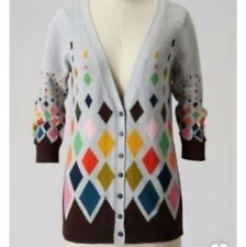 Anthropologie Gray Diamond Pattern Cardigan Sweater Ingrid Hass RARE Wrap Top M