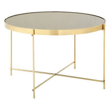 Allure Side Coffee Table Black Mirror Brushed Bronze Modern Furniture