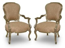 Pair of French Design,Gold Leaf , Embodied Silk ,Taupe, Hand Carved, Armchair