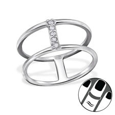TJS 925 Sterling Silver Midi Ring Double Line Clear CZ US Size 3.5 Jewellery