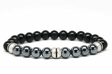 Black Onyx and Hematite Beaded Mens Bracelet-DT129