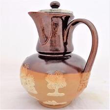 Raro Antiguo Doulton Lambeth sprigged Gres Chocolate Olla Plata Llanta HM 1892