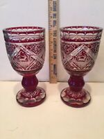ANTIQUE 19TH C BOHEMIAN RUBY RED CUT TO CLEAR 4-SCENE GOBLETS - 2 - INCREDIBLE!