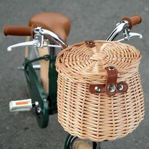 Bike Handlebar Hanging Willow Baskets Handwoven Wicker Basket With Lid Pannier