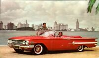 1960 CHEVROLET IMPALA CONVERTIBLE VINTAGE CAR  ADVERTISING POSTCARD CHEVY pb25