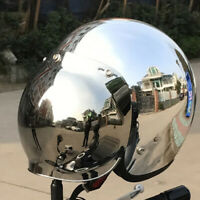 DOT Open Face Motorcycle Helmet w/Sun Visor Chrome Silver Cruiser Scooter Helmet