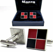 New Men's Cufflinks Cuff Link Square 2 Tones Black Red Wedding Formal Prom #08